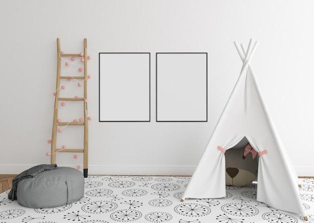 Skandynawski pokój dziecięcy z podwójnymi ramkami Premium Zdjęcia