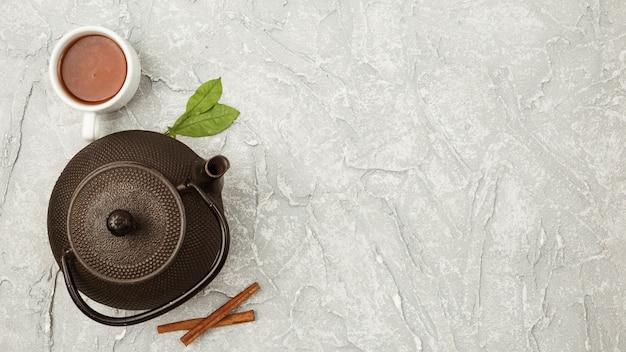 Skład widoku z góry na koncepcji herbaty Darmowe Zdjęcia