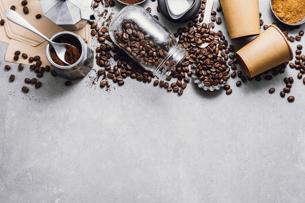 Składniki do przygotowania kawy na płasko Premium Zdjęcia