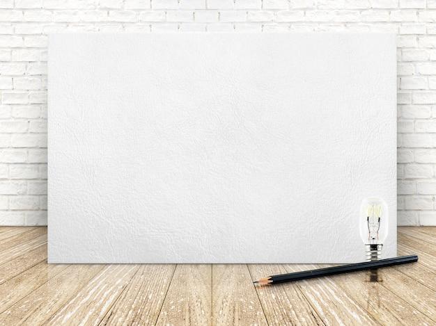 Skórzana Ramka Na Białym Murem I Drewnianą Podłogą, Szablon Dla Treści Premium Zdjęcia