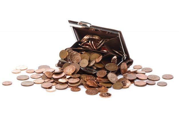 Skórzany Portfel Z Dużą Ilością Monet Euro Centów Premium Zdjęcia