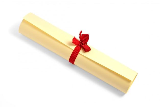 Skręcone Dyplom Ze Wstążką Na Białym Tle Premium Zdjęcia
