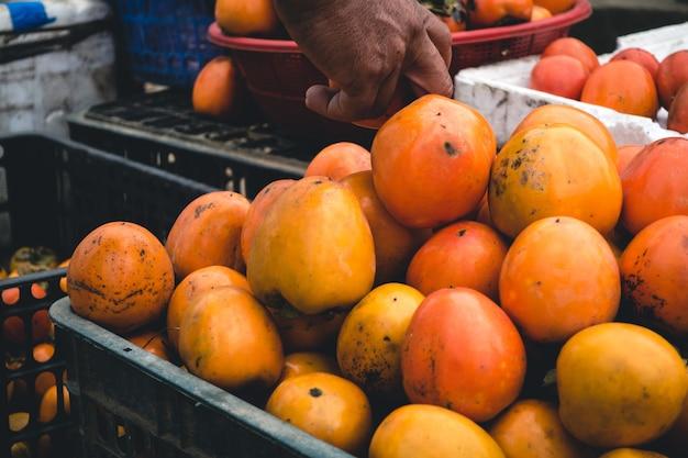 Skrzynia Owoców Kaki Darmowe Zdjęcia