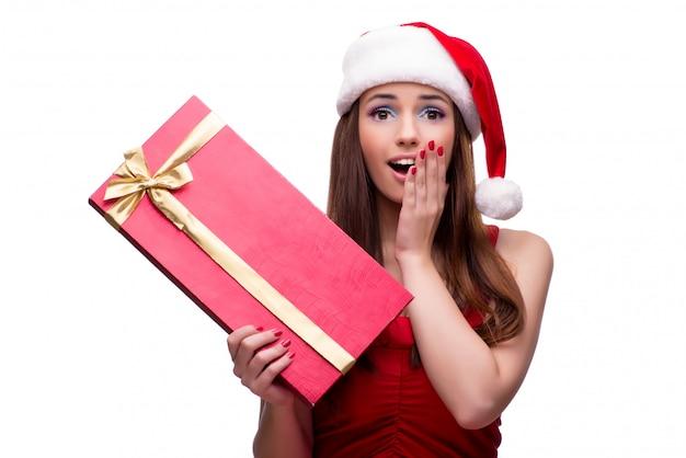 Śliczna Dziewczyna W Bożego Narodzenia Pojęciu Odizolowywającym Na Bielu Premium Zdjęcia