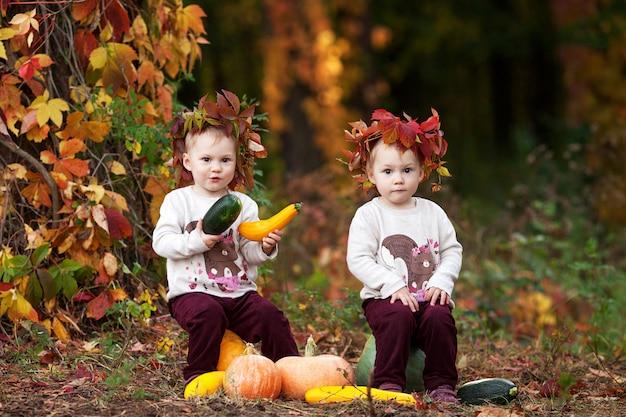 Śliczne małe bliźniacze dziewczyny bawić się z jarzynowym szpikiem kostnym w jesień parku. Premium Zdjęcia