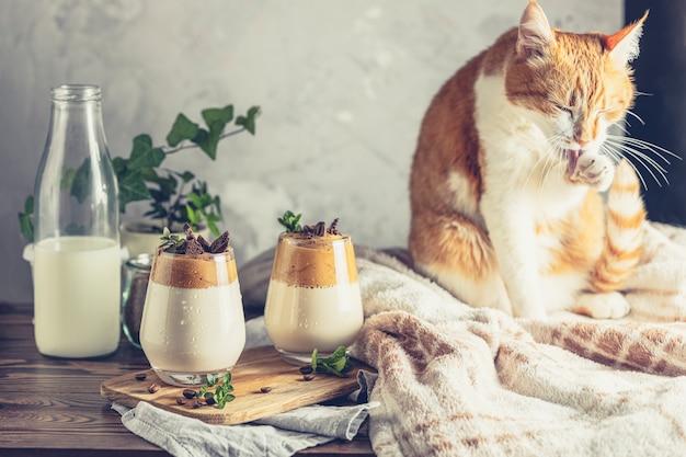 Śliczny Czerwony Biały Kot Zrelaksował Się Przy Dwóch Szklankach Mrożonej Kawy Dalgona Na Ciemnej Drewnianej Powierzchni Premium Zdjęcia