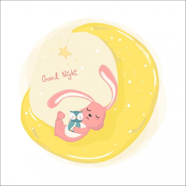 Śliczny królik śpi na cresent księżyca z śliczną sową Premium Zdjęcia