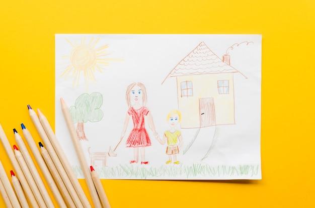 Śliczny Rysunek Samotna Mama Na żółtym Tle Darmowe Zdjęcia