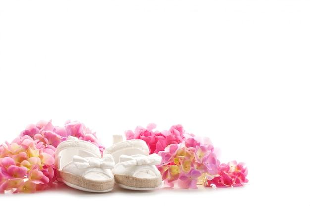 Słodkie Buty Noworodka Dziewczynka. Baby Shower, Urodziny, Zaproszenia, Karty Z Pozdrowieniami Premium Zdjęcia