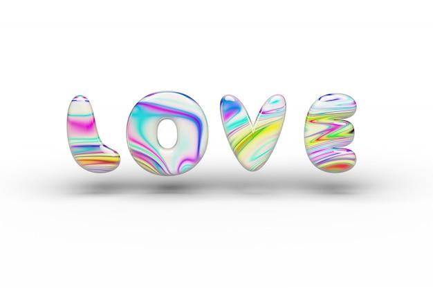 Słodycze Candy Wielokolorowe Love Word Na Białym Odizolowane Premium Zdjęcia