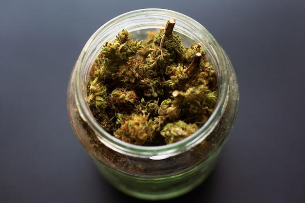 Słoik Suszonych I Zaprawionych Pąków Marihuany, Medyczna Zapachowa Marihuana Z Lodówki Premium Zdjęcia