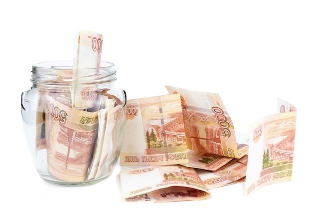 Słoik z pieniędzmi Premium Zdjęcia