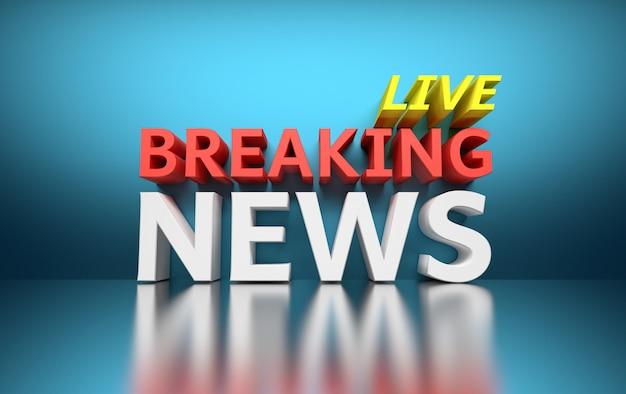 Słowa Breaking News Live Napisane Pogrubionym Czerwonym, Białym I żółtym Kolorem Na Niebiesko Premium Zdjęcia