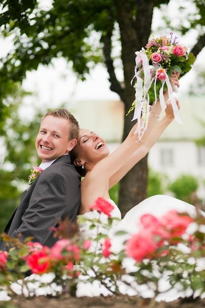 Ślub, szczęśliwa para Premium Zdjęcia