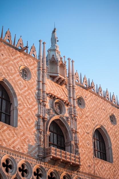 Słynna Gotycka Fasada Pałacu Dożów W Wenecji. Premium Zdjęcia