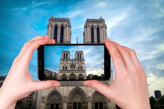 Słynna Katedra Notre Dame W Paryżu We Francji Premium Zdjęcia