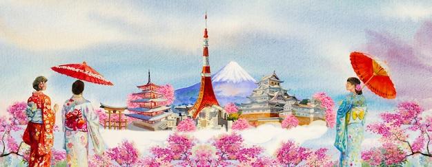 Słynne Zabytki świata I Azjatycka Kobieta Ubrana W Tradycyjne Japońskie Kimono Z Parasolem. Premium Zdjęcia
