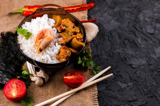 Smakowity Azjatykci Ryżowego Naczynia Odgórny Widok Darmowe Zdjęcia
