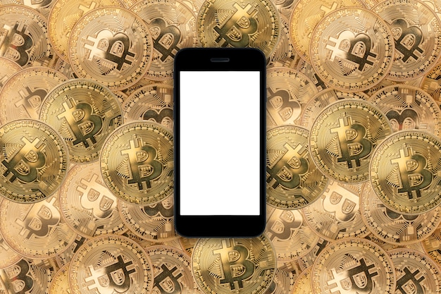 Smartfon Na Bitcoinach Premium Zdjęcia