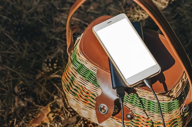 Smartfon Z ładowaniem Power Bank Na Kosz W Lesie. Koncepcja Na Temat Rekreacji Na świeżym Powietrzu. Premium Zdjęcia
