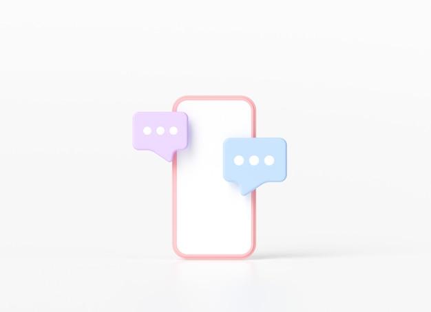 Smartfon Z Pływającymi Bąbelkami Czatu Premium Zdjęcia