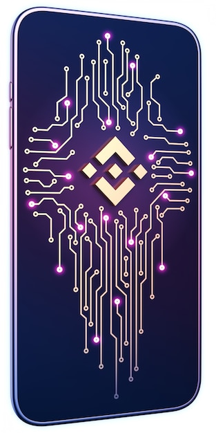 Smartfon Z Symbolem Binance I Płytką Drukowaną Na Ekranie. Pojęcie Mobilnego Wydobycia I Handlu. Premium Zdjęcia