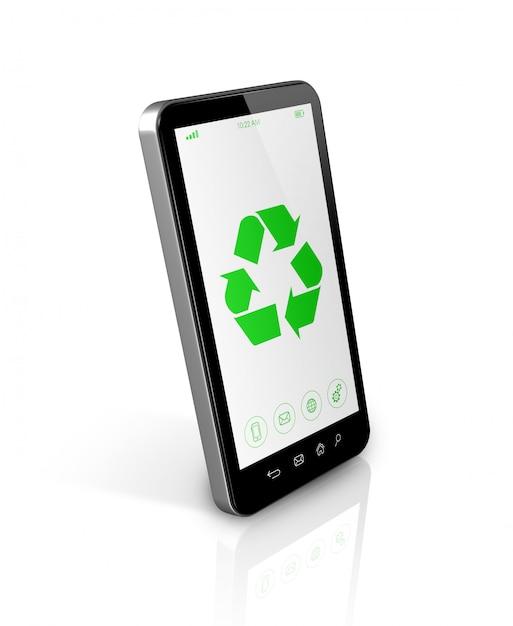 Smartfon Z Symbolem Recyklingu Na Ekranie. Koncepcja Ochrony środowiska Premium Zdjęcia