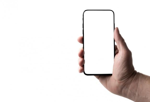 Smartphone W Ręce Na Odosobnionym Premium Zdjęcia