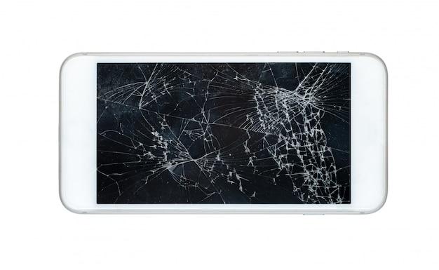 Smartphone Z Uszkodzonym Ekranem Odizolowywającym Na Białym Tle Premium Zdjęcia