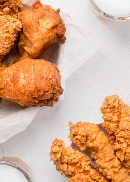 Smażone Pod Wysokim Kątem Kawałki Kurczaka Darmowe Zdjęcia