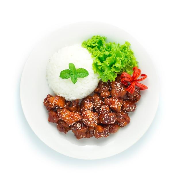 Smażony Kurczak (dak Gang Jung) Z Oryginalnym Sosem Premium Zdjęcia