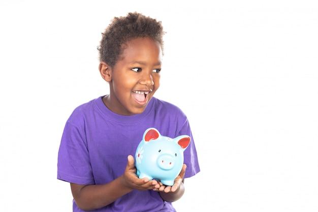 Śmieszne afrykańskie dziecko z skarbonką Premium Zdjęcia