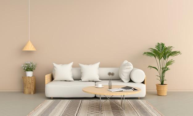 Sofa i drewniany okrągły stół w brązowym salonie Premium Zdjęcia
