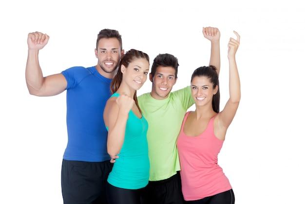 Sprawność Fizyczna Szczęśliwi Przyjaciele świętuje Coś Premium Zdjęcia