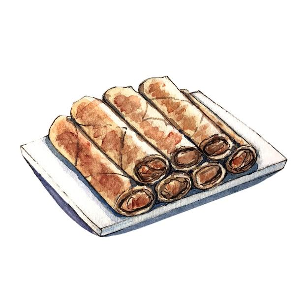 Spring roll akwarela azjatyckie jedzenie Premium Zdjęcia