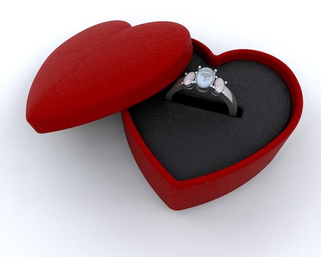 Srebrny Pierścionek Zaręczynowy W Pudełku W Kształcie Serca Zdjęcie