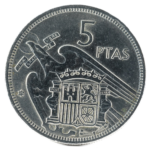 Stara Hiszpańska Moneta 5 Peset Premium Zdjęcia