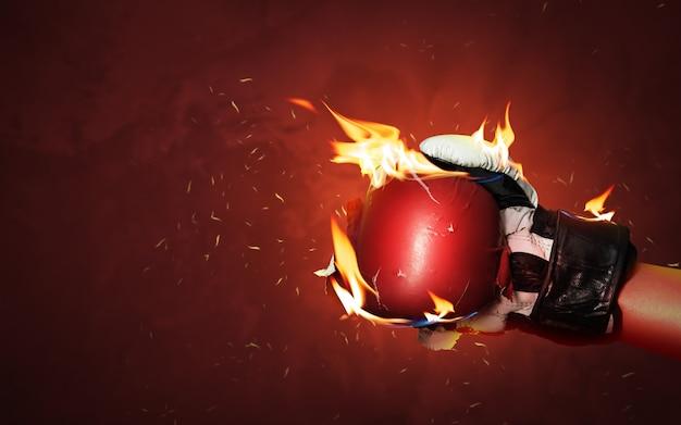Stare Czerwone Bokserskie Rękawiczki Na Gorącym Błyskają Tło Z Ekstremalnym Pożarniczym Płomieniem I Walczącą Zaciekle Ręką Dla Pojęcia Zwycięzcy Lub Sukcesu. Premium Zdjęcia