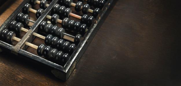 Stare Drewno Arbakus Do Narzędzia Do Nauki Kalkulatora Na Tle Drewna Z Rozmiarem Transparentu Premium Zdjęcia