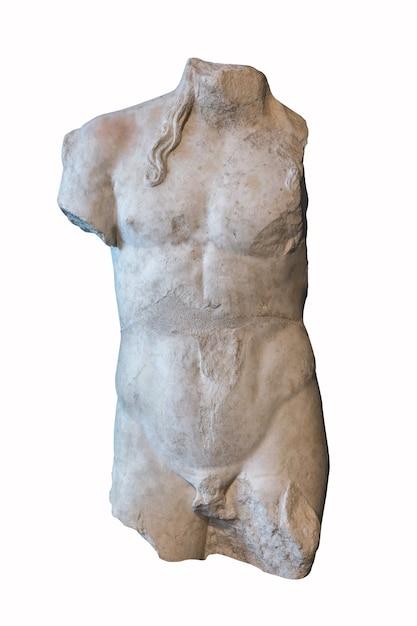 Starożytny Biały Uszkodzony Kamienny Posąg Na Białym Tle. Premium Zdjęcia
