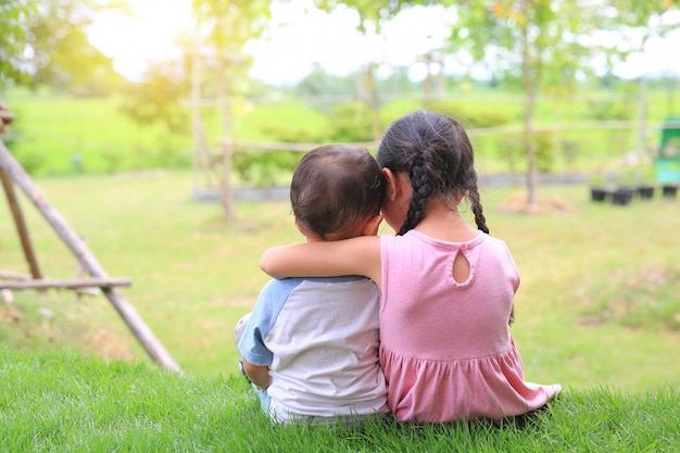 Starsza siostra ściska młodszego brata za szyję, ramiona siedzi na zielonej trawie. dwoje uroczych azjatyckich dzieci siedzi i ściska widok z tyłu szyi. Premium Zdjęcia