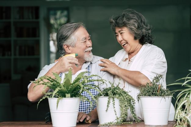 Starsze pary rozmawiają ze sobą i sadzą drzewa w doniczkach. Darmowe Zdjęcia