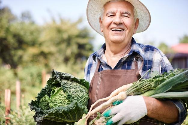Starszy Mężczyzna Pracujący W Polu Z Warzywami Darmowe Zdjęcia