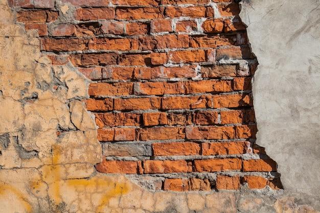 Stary Ceglany Mur I Tynk Premium Zdjęcia