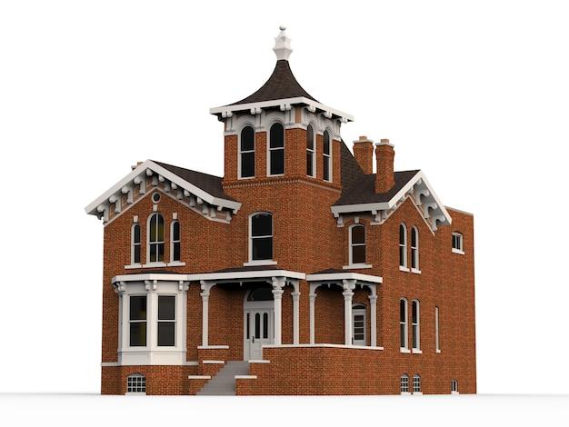 Stary dom w stylu wiktoriańskim. ilustracja na białym tle. gatunki z różnych stron. renderowania 3d. Premium Zdjęcia