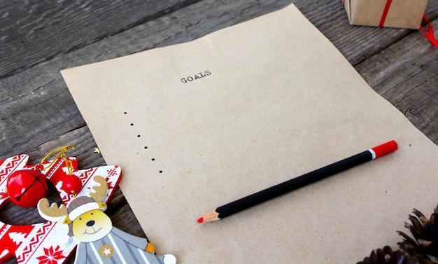 Stary tekst listy celów do pisania Premium Zdjęcia