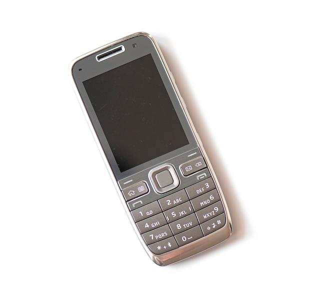 Stary Używać Plastikowy Telefon Komórkowy Odizolowywający Premium Zdjęcia