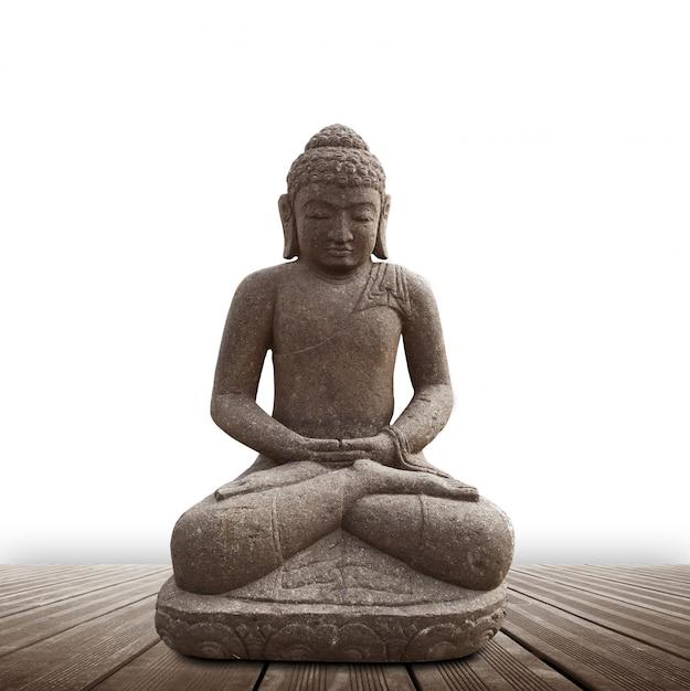 Statua buddy na białym tle Premium Zdjęcia