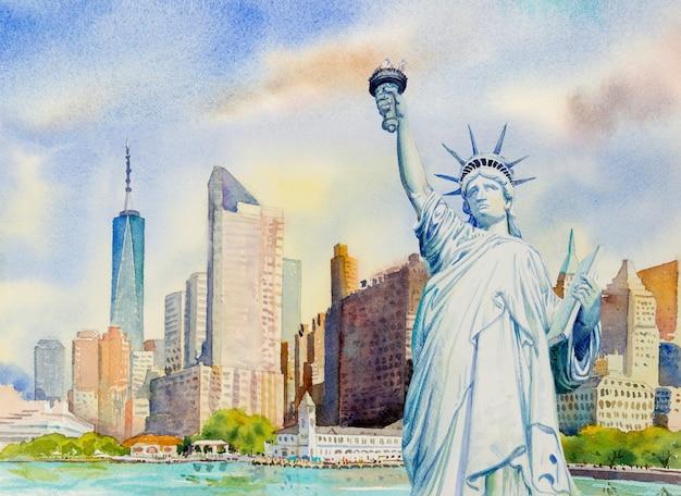 Statua Wolności Na Manhattanie Miejskich. Malarstwo Akwarelowe Premium Zdjęcia