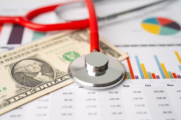 Stetoskop I Banknoty Dolara Na Papierze Milimetrowym. Premium Zdjęcia